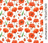 seamless pattern. poppy... | Shutterstock . vector #1781657600