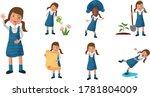 little girl doing different... | Shutterstock .eps vector #1781804009