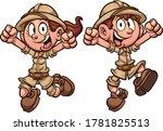 happy cartoon explorer safari... | Shutterstock .eps vector #1781825513