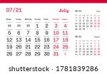 july page. 12 months premium... | Shutterstock .eps vector #1781839286