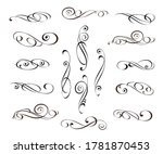 vector floral swirls set... | Shutterstock .eps vector #1781870453