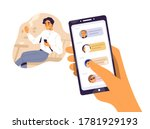 smiling guy surfing internet...   Shutterstock .eps vector #1781929193