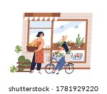 friendly woman greengrocer and... | Shutterstock .eps vector #1781929220