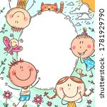 oval frame with happy doodle...   Shutterstock .eps vector #1781929790