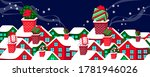 snowy  home roofs and presents... | Shutterstock .eps vector #1781946026