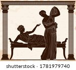 two ancient greek young women...   Shutterstock .eps vector #1781979740