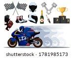 motor racer on bike.... | Shutterstock .eps vector #1781985173