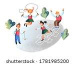 happy children playing on...   Shutterstock .eps vector #1781985200