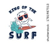 cute surfer monster drawing as...   Shutterstock .eps vector #1781987513