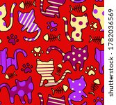 colorful doodle cats  seamless... | Shutterstock . vector #1782036569