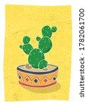 cactus in hand drawn flower pot....   Shutterstock .eps vector #1782061700