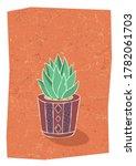 cactus in hand drawn flower pot....   Shutterstock .eps vector #1782061703