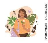 beauty woman holding reusable... | Shutterstock .eps vector #1782069539
