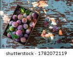 Fresh Plums In Wooden Box On...