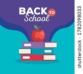 back to school banner with pile ... | Shutterstock .eps vector #1782098033