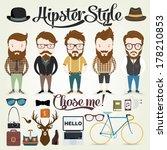 hipster character illustration... | Shutterstock .eps vector #178210853