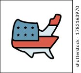 map usa flag icon. simple color ...