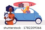 woman goes on vacation leaving... | Shutterstock .eps vector #1782209366
