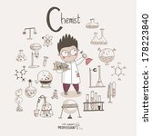 Cute vector alphabet Profession. Letter C - Chemist