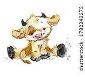 Cute Cartoon Bull. Funny Cow...