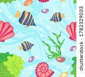 Seamless Pattern With Cute Fis...
