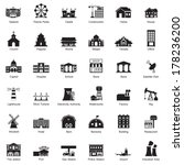 Buildings city icon set - stock vector
