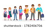 school children with books and... | Shutterstock .eps vector #1782406706