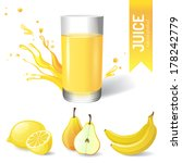 juice in glass and fruits icons | Shutterstock .eps vector #178242779