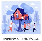 children playing at tree house. ...   Shutterstock .eps vector #1782497666