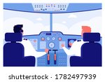 Airplane Pilots At Control...