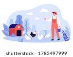 happy farmer breeding hens....   Shutterstock .eps vector #1782497999