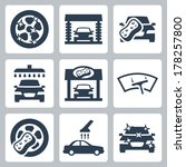 vector car wash icons set | Shutterstock .eps vector #178257800