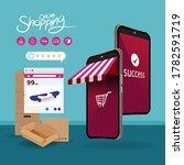 shopping online on mobile...   Shutterstock .eps vector #1782591719