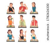 people eating different meals...   Shutterstock .eps vector #1782626330