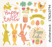happy easter vector set in... | Shutterstock .eps vector #178263794