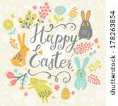bright happy easter card in...   Shutterstock .eps vector #178263854