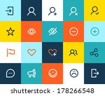 Social and communication icons. Flat
