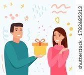 man take gift for woman.... | Shutterstock .eps vector #1782685313