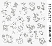 set of cute doodle hand drawn... | Shutterstock .eps vector #1782734393