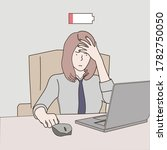 a business woman is tired at...   Shutterstock .eps vector #1782750050