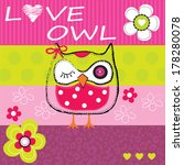 cute owl  striped background... | Shutterstock .eps vector #178280078