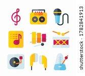 simple set music vector color...