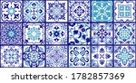collection of 18 ceramic tiles... | Shutterstock .eps vector #1782857369