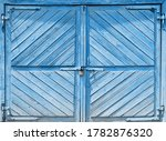 Old Blue Shed Door With A...