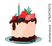 a slice of birthday cake with a ... | Shutterstock .eps vector #1782979073
