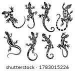 Set of stylized lizard. Collection of decorative silhouettes of reptiles. Vector illustration of scaly lizards. Lizard logo.Totem design. Tattoos.