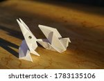 White Rabbit Origami On Wooden...