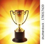 golden trophy on bright... | Shutterstock . vector #178317620