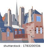 view of the facades and roofs... | Shutterstock .eps vector #1783200536