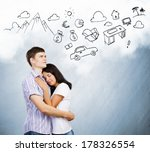 young couple hugging each other ... | Shutterstock . vector #178326554